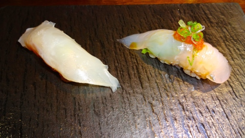 Madai/Red Seabream Nigiri (8/10) and Hirame/Halibut Nigiri(8.5/10).