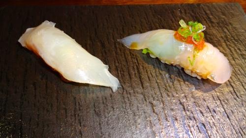Madai/Red Seabream Nigiri (8/10) and Hirame/Halibut Nigiri(8.5/10).