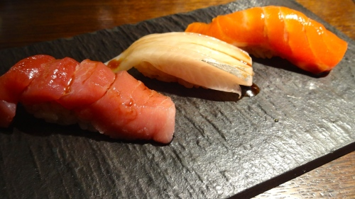 Akami/Lean Tuna Nigiri (8/10), Kanpachi/Young Yellowtail Nigiri (8.5/10), and Umimasu/Ocean Trout Nigiri (8.5/10).