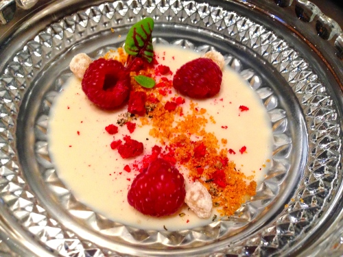 Soy Bean Panna Cotta with Jasmine Tea, Fresh and Freeze Dried Raspberries, Candied Ginger, and Sorrel.