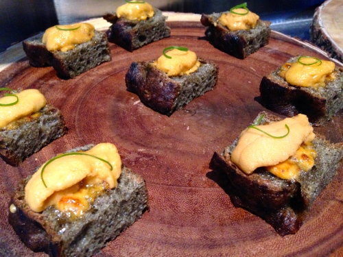 Uni Toast on Seaweed Focaccia with Kosho Mayonnaise.
