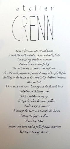 Chef Crenn's Poems as Her Menu.