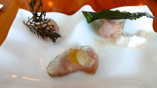 Left: Sea Bream a la Plancha with Fried Seaweed (8/10), Middle: King Mackerel with Honey Vinaigrette and Garlic (9/10), and Right: Lightly Cured Perch with Pickled Turnip, Shiso, and Umeboshi Snow (8/10).