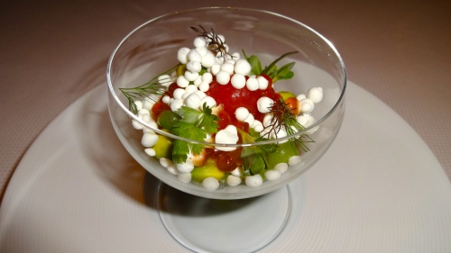 Garden Menu: Achadinha Feta with King Salmon Roe, Cucumber, and Cherry Tomatoes (8.5/10).