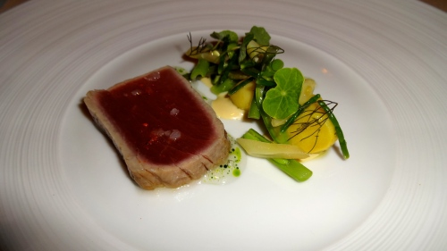 Quince Menu: California Yellowfin Tuna with Summer Beans, Wild Fennel, and Nasturtium (7.5/10).