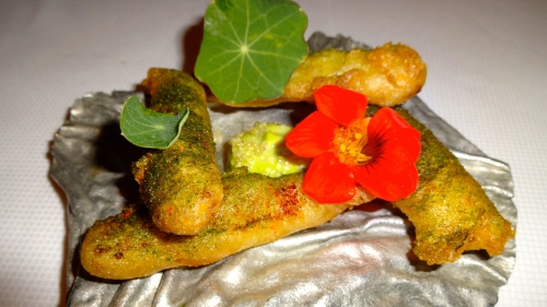 Garden Menu: Young Corn Fritto with Wild Ramp, Nasturtium, and Finger Line (7.5/10).