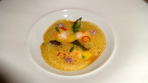 Quince Menu: Spot Prawn with Red Corn Polenta, Chili, and Okra (8.5/10).