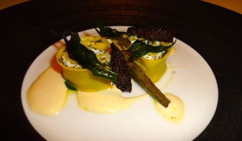 Garden Menu: Rotolo with Garlic Scape, Spinach, and Morel Mushrooms (7/10).