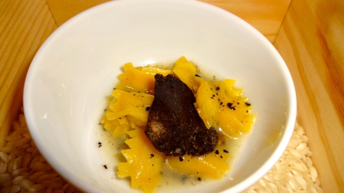 Corn Ravioli with Black Truffle (9/10).