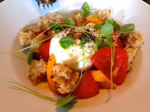 Burrata Cheese with Heirloom Tomatoes (8/10).