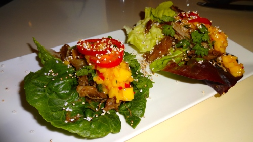 Duck Confit Lettuce Cups, Mango, and Puffed Amaranth (6.5/10).