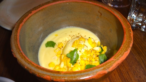 Farmer's Cheese Dumpling with Corn Sauce (9/10).