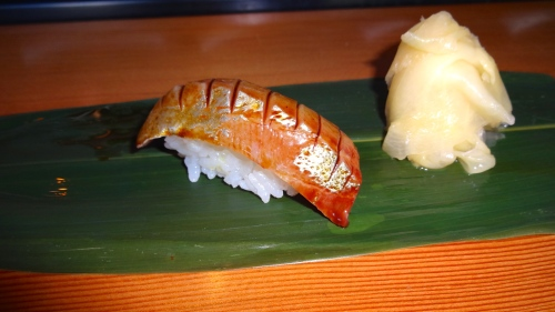Shima Aji/Striped Jack Nigiri with Sake Soy Marinade (8/10).