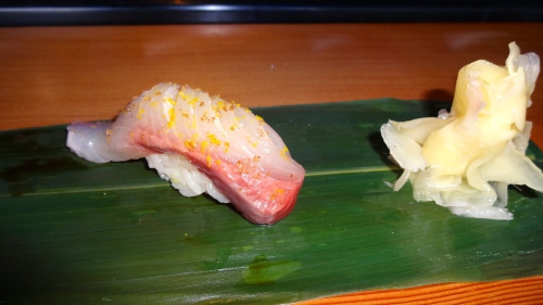 Kanpachi/Amberjack Nigiri with Meyer Lemon Salt and Zest (8.5/10).
