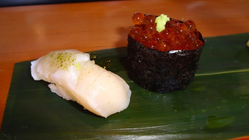 Hotate/Scallop Nigiri with Green Tea Salt (8.5/10) and Ikura/Salmon Roe Nigiri Marinated in Sake and Soy (8/10).