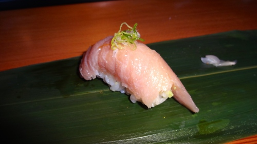 Bincho Toro/Albacore Belly Nigiri with Ginger, Garlic, and Scallion (9/10).