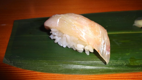 Hirame/Fluke Nigiri Cured in Kombu with Yuzu (7.5-8/10).
