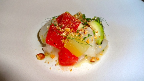 Halibut Crudo with Pickled Orchid Melon, Toasted Almonds, and Grilled Cucumber (7.5-8/10).