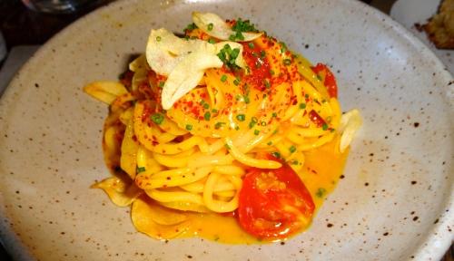 Saffron Tonnarelli, Fino Sherry, Tomato, Toasted Garlic, and Fennel (9/10).