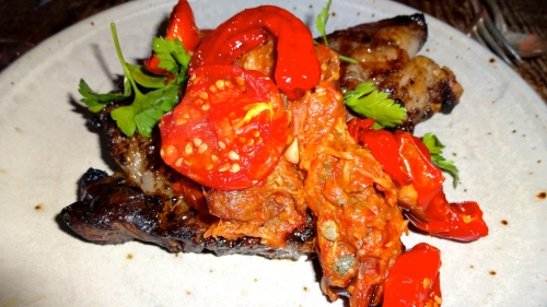 Beef Rib Eye with Eggplant Caponata and Early Girl Tomato (8/10).