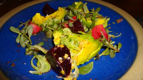 Avocado and Marinated Beets with Shaved Fennel (7.5-8/10).