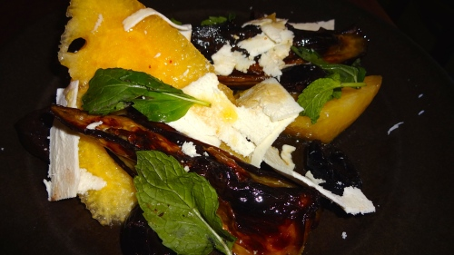 Orchid Watermelon and Roasted Eggplant with Black Olives and Ricotta Salata Cheese (7/10).