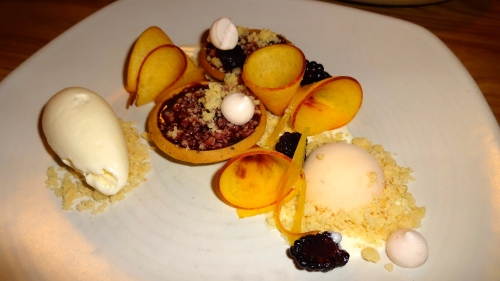 Blackberry Crisp with Nectarines and Lime Ice Cream and Peach Sherbet (8/10).