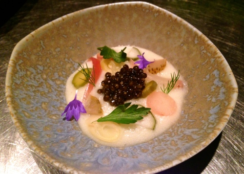 Fermented Potato Mousse with Various Pickles and Caviar.
