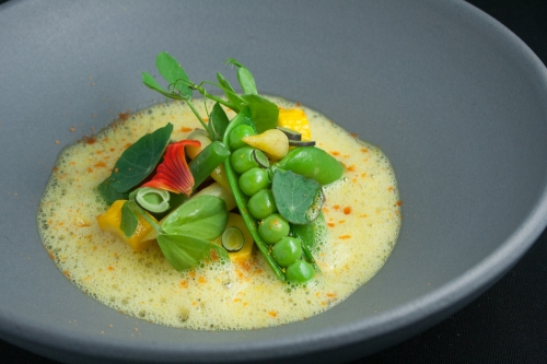 Various Legumes with Summer Squash, Bell Pepper, Saffron and Fennel Nage, and Cured Spot Prawn Roe Powder.