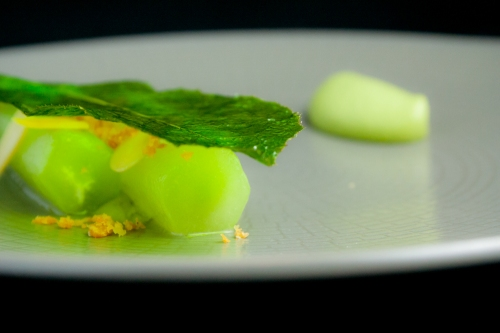 Celtuce with Almonds, Chicken Skin Crumble, and Celtuce Leaf Chip.