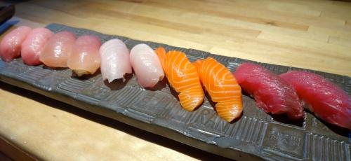 Toro/Fatty Tuna Nigiri (9/10), Bincho Maguro/White Tuna Nigiri (7/10), Hamachi/Yellowtail Nigiri (7/10), Sake/Salmon Nigiri (8/10), and Maguro/Tuna Nigiri (8/10).