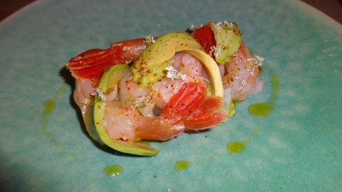 Spot Prawn Crudo with Avocado and Espelette Pepper (8.5/10)