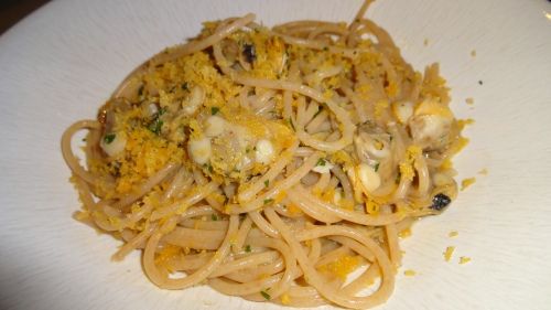 Farro Spaghetti with Clams, Chili, and Breadcrumbs (7.5-8/10).