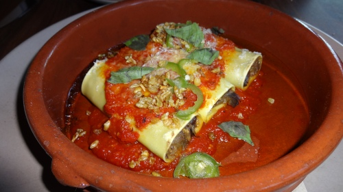 Eggplant Cannelloni with Early Girl Tomatoes, Serrano Chili, and Basil (6.5/10).