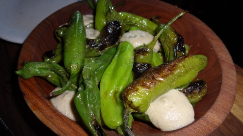 Shishito Peppers with Smoked Eggplant Cream (8/10).