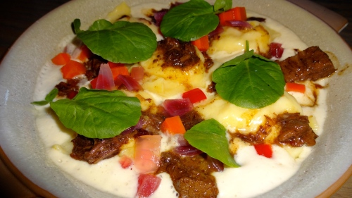 Anson Mills Polenta Ravioli with Beef Short Rib Sugo, Jardiniere, and Smoked Onion (8.5-9/10).