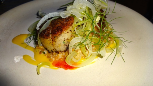 Pan Seared Scallops with Farro, Cara Cara Orange and Fennel Salad (8/10).