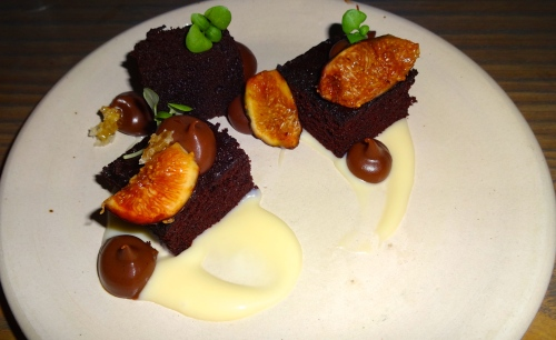 Chocolate Devil's Food Cake with Honey Milk Chocolate Pudding, Black Mission Figs, and Honeycomb (8.5/10).
