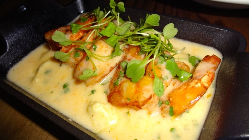 Spiced Shrimp with Anson Mills Grits and Albariño-Butter (7/10).