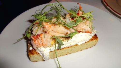 Brioche with Lobster, Labneh, and Pea Tendrils (7.5/10).