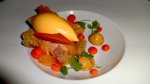Caramel Cremeux with Crispy Chiffon Cake, Sea Buckthorn, and Peach Sorbet (8.5/10).