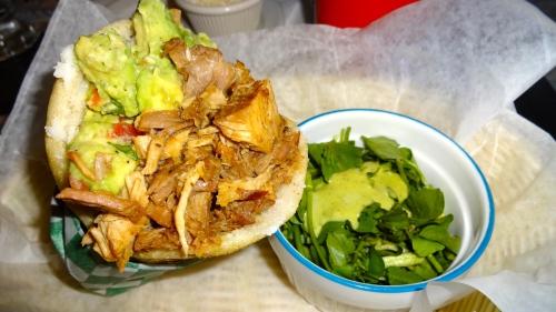 Pork and Avocado Arepa.