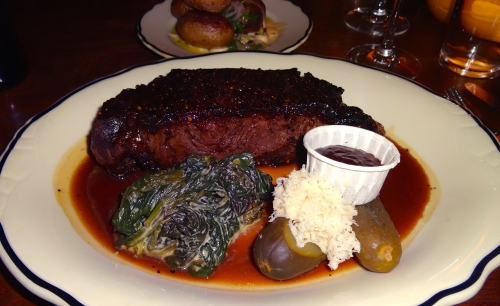 Liverpool Style Steak with Creamed Spinach and Horseradish (8.5/10).