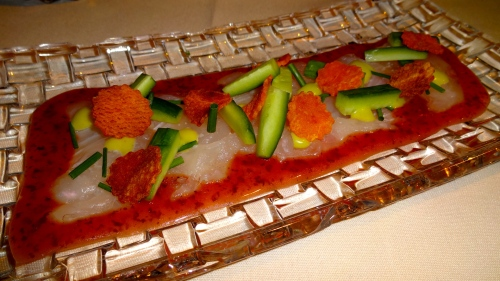 Fluke Sashimi with Umeboshi Vinaigrette, Cucumber, and Wasabi (6/10).