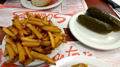 French Fries and Dill Pickles.