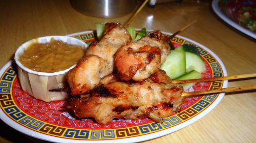 Chicken Skewers with Peanut Sauce.