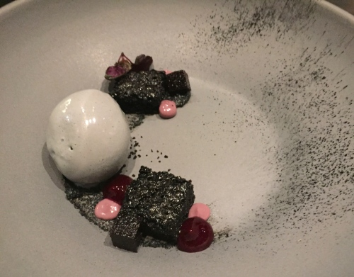 Black Sesame Ice Cream with Devils Food Cake, Black Rice Gel, and Cassis Pâte de Fruit.