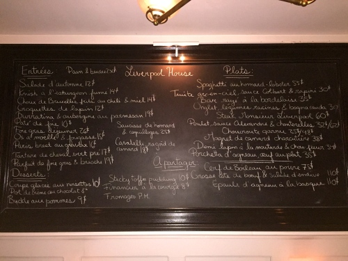 Liverpool House's Menu.