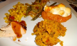 Creamed Corn, Green Beans, Sweet Potato Casserole, Cornbread Stuffing, and Turkey.
